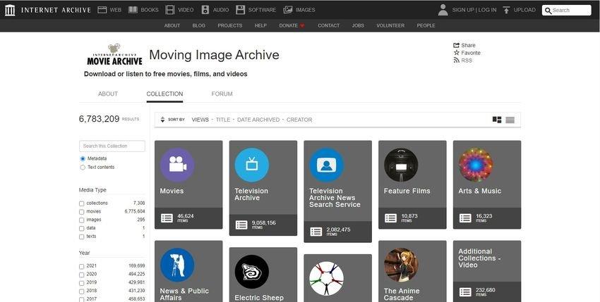 internet archive - 12 βίντεο ιστότοποι, εναλλακτικοί του YouTube